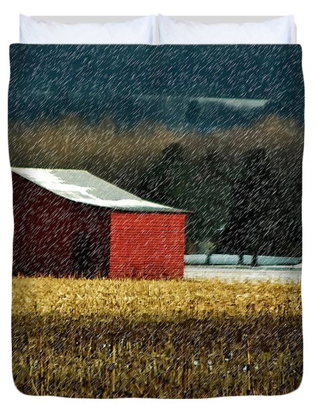 Snowy Red Barn In Winter Duvet Cover by Lois Bryan