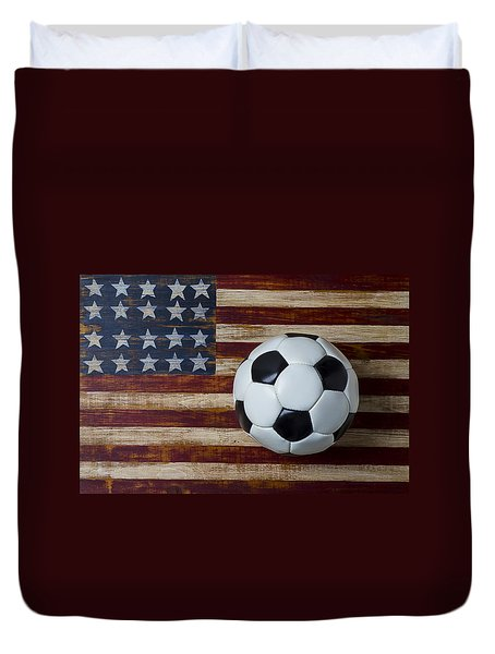 Soccer Ball And Stars And Stripes Duvet Cover by Garry Gay