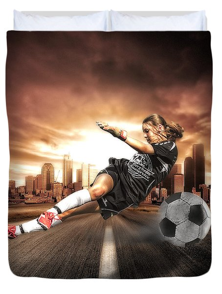 Soccer Girl Duvet Cover by Erik Brede