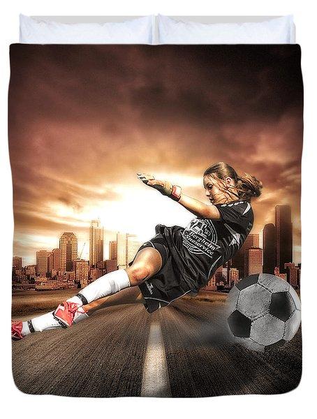 Soccer Girl Duvet Cover by Erik Brede