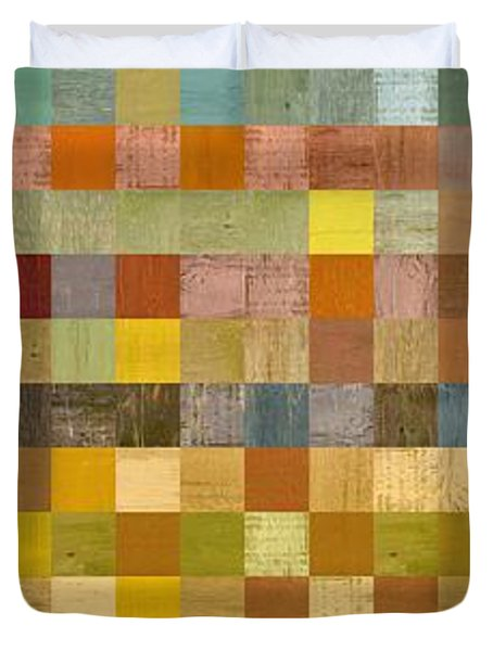 Soft Palette Rustic Wood Series Collage Lll Duvet Cover by Michelle Calkins