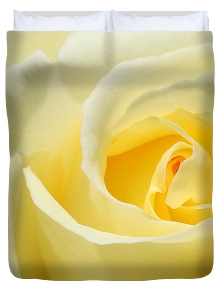 Soft Yellow Rose Duvet Cover by Sabrina L Ryan