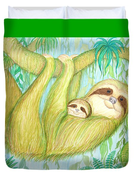 Soggy Mossy Sloth Duvet Cover by Nick Gustafson