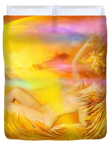 Solar Plexus Goddess Duvet Cover by Carol Cavalaris