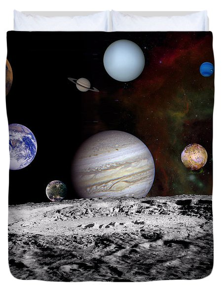 Solar System Montage Of Voyager Images Duvet Cover by Movie Poster Prints