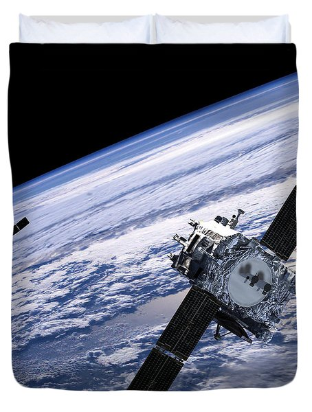 Solar Terrestrial Relations Observatory Satellites Duvet Cover by Anonymous