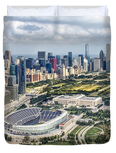 Soldier Field And Chicago Skyline Duvet Cover by Adam Romanowicz