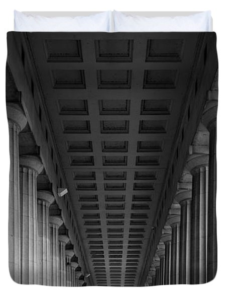 Soldier Field Colonnade Chicago B W B W Duvet Cover by Steve Gadomski