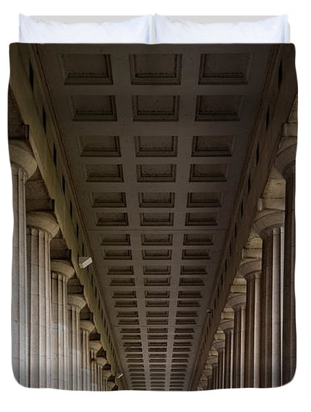 Soldier Field Colonnade Duvet Cover by Steve Gadomski