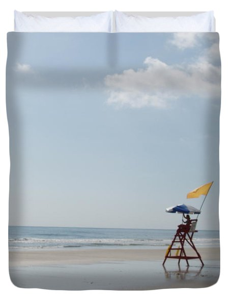 Solitary Watch Man Duvet Cover by Audrey Peaty