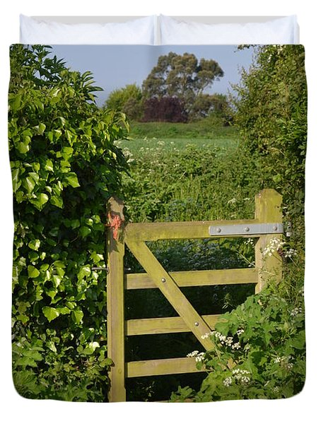 Somerset Countryside Gate Uk Duvet Cover by Rene Triay Photography