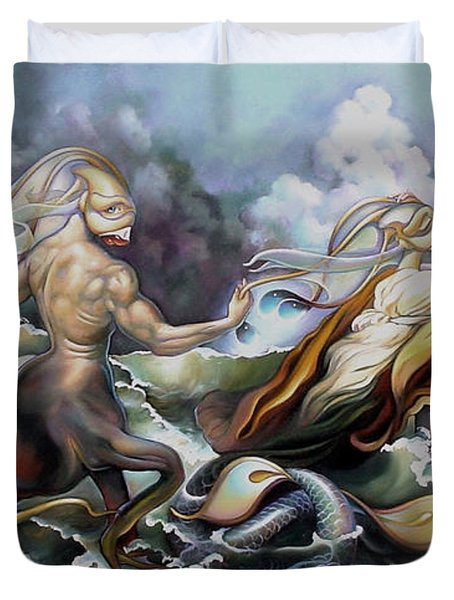 Something Fowl Afloat Redux Duvet Cover by Patrick Anthony Pierson