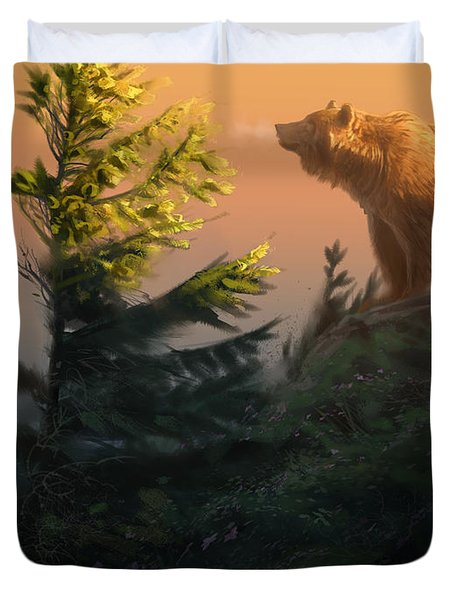 Something On The Air - Grizzly Duvet Cover by Aaron Blaise