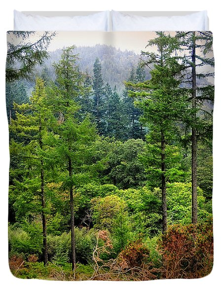 Somewhere In The Forest Over Upper Lake. Glendalough. Ireland Duvet Cover by Jenny Rainbow