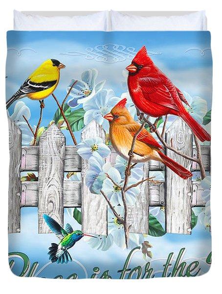 Songbirds Fence Duvet Cover by JQ Licensing