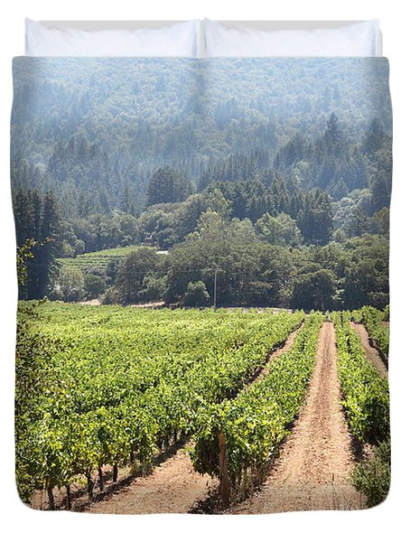 Sonoma Vineyards In The Sonoma California Wine Country 5d24515 Duvet Cover by Wingsdomain Art and Photography
