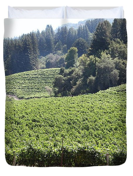 Sonoma Vineyards In The Sonoma California Wine Country 5d24539 Duvet Cover by Wingsdomain Art and Photography