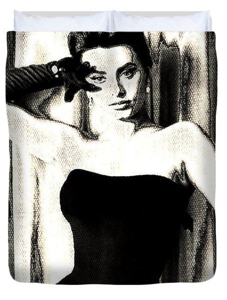 Sophia Loren - Black And White Duvet Cover by Absinthe Art By Michelle LeAnn Scott