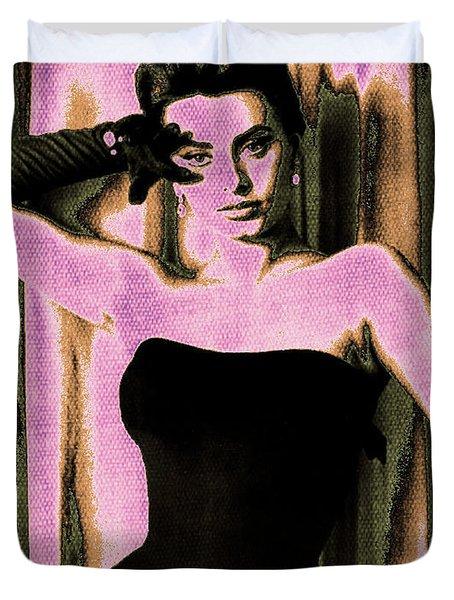 Sophia Loren - Purple Pop Art Duvet Cover by Absinthe Art By Michelle LeAnn Scott