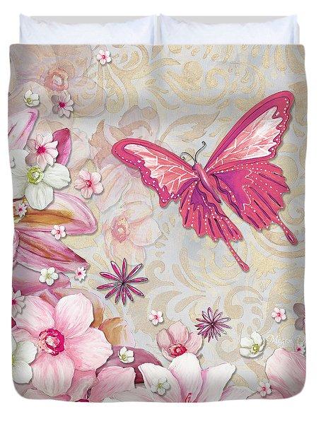 Sophisticated Elegant Whimsical Pink Butterfly Floral Flower Art Springs Joy by Megan Duncanson Duvet Cover by Megan Duncanson