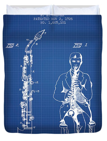 Soprano Saxophone Patent From 1926 - Blueprint Duvet Cover by Aged Pixel