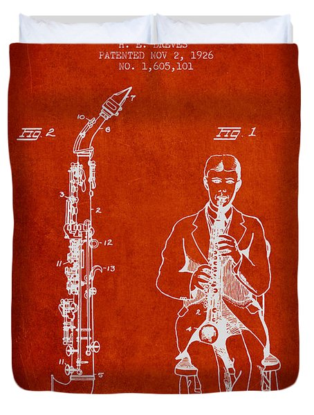 Soprano Saxophone Patent From 1926 - Red Duvet Cover by Aged Pixel