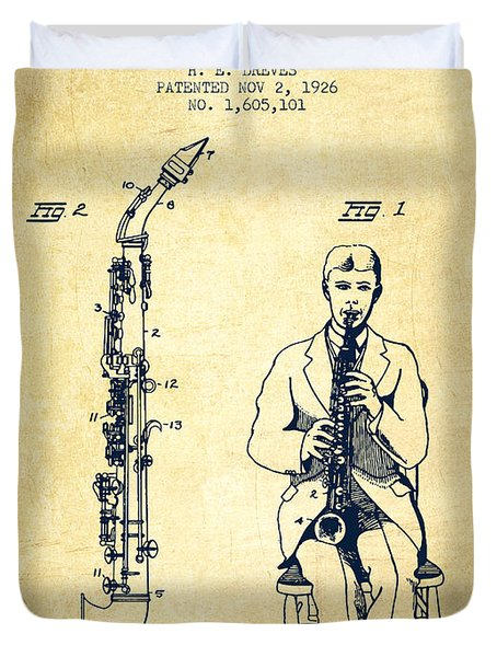Soprano Saxophone Patent From 1926 - Vintage Duvet Cover by Aged Pixel