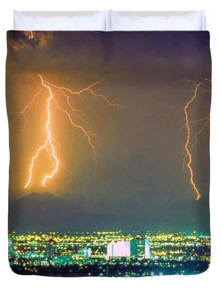 South Mountain Lightning Strike Phoenix AZ Duvet Cover by James BO  Insogna