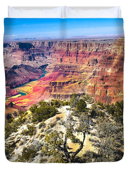 South Rim From The Butte Duvet Cover by Robert Bales