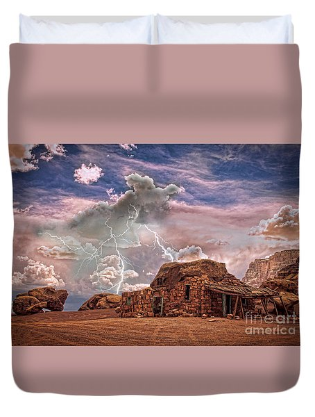 Southwest Navajo Rock House And Lightning Strikes Hdr Duvet Cover by James BO  Insogna