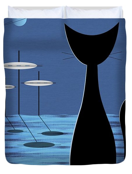 Space Cat In Blue Duvet Cover by Donna Mibus