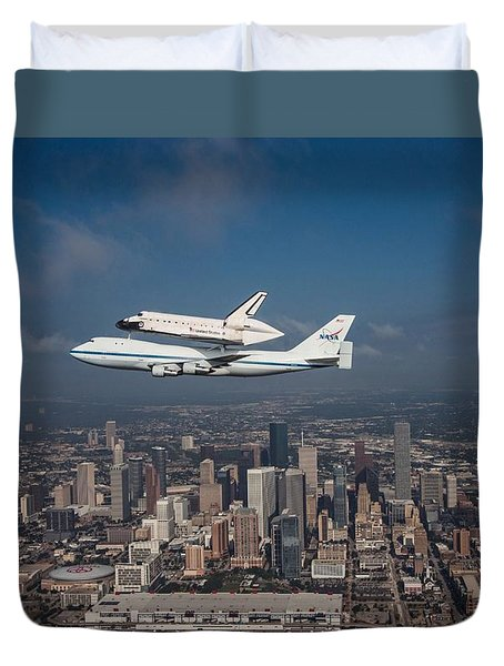 Space Shuttle Endeavour Over Houston Texas Duvet Cover by Movie Poster Prints