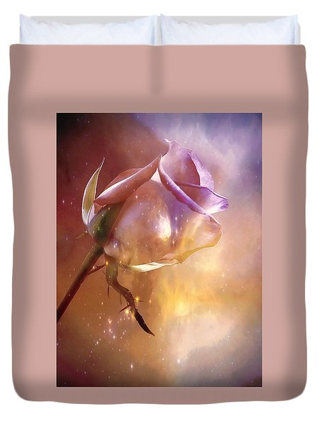 Sparkling Rose Duvet Cover by Anne Macdonald