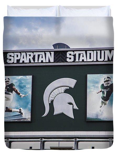 Spartan Stadium Scoreboard  Duvet Cover by John McGraw