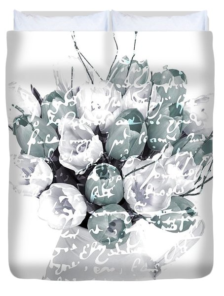 Speak Softly Tulips Duvet Cover by Debra  Miller