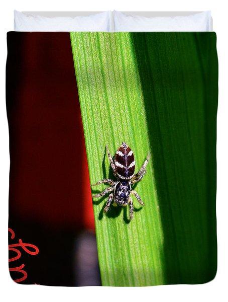 Spider On Green Leaf Duvet Cover by Toppart Sweden