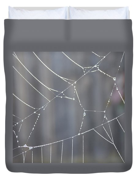 Spider Web In Rain Duvet Cover by Cheryl Miller