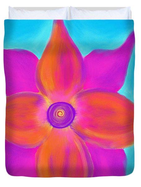 Spiral Flower Duvet Cover by Daina White
