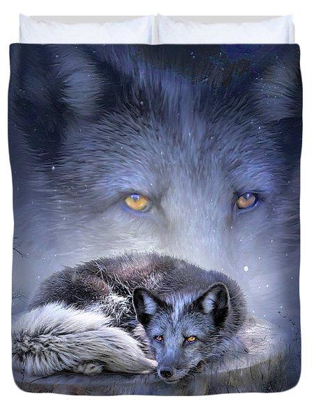 Spirit Of The Blue Fox Duvet Cover by Carol Cavalaris