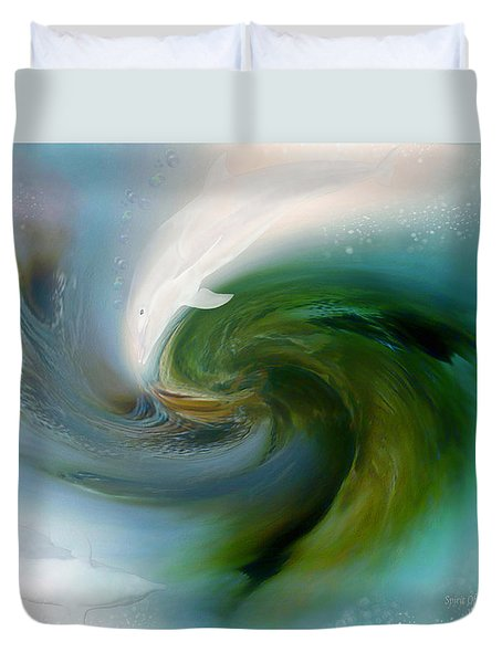 Spirit Of The White Dolphin Duvet Cover by Carol Cavalaris