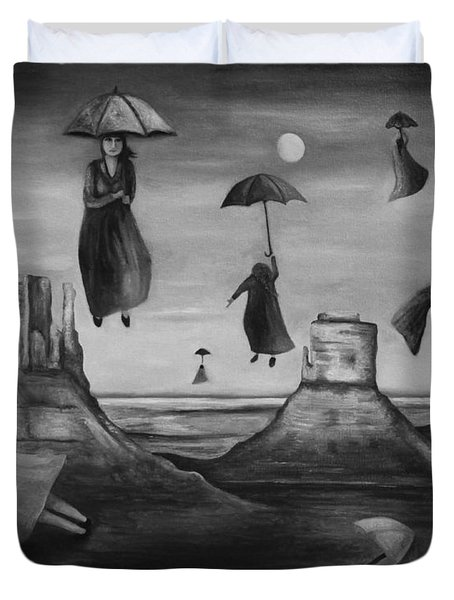 Spirits Of The Flying Umbrellas Bw Duvet Cover by Leah Saulnier The Painting Maniac
