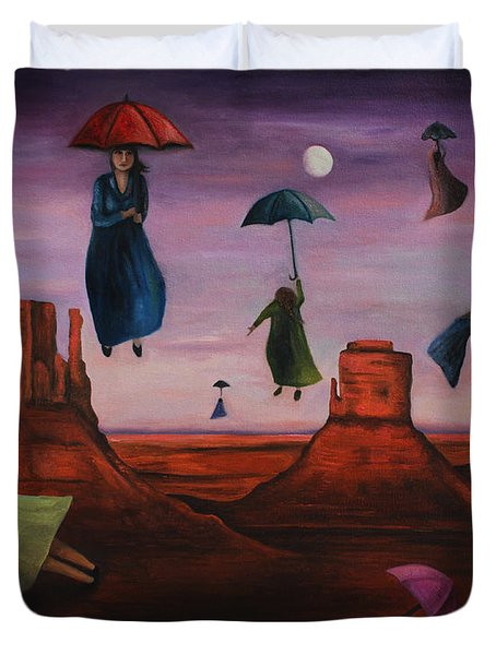 Spirits Of The Flying Umbrellas Duvet Cover by Leah Saulnier The Painting Maniac