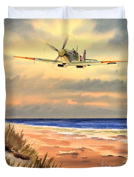 Spitfire Mk9 - Over South Coast England Duvet Cover by Bill Holkham