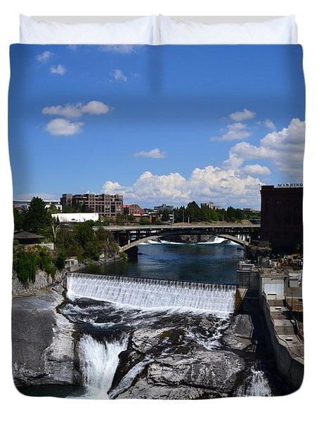Spokane Falls and Riverfront Duvet Cover by Michelle Calkins