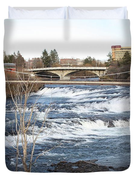 Spokane Falls in Winter Duvet Cover by Carol Groenen