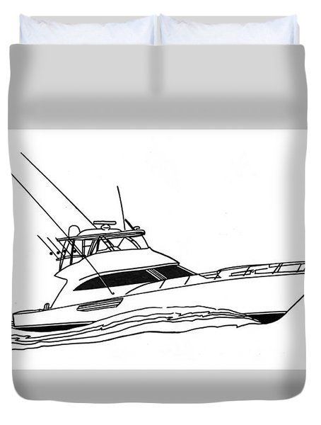 Sport Fishing Yacht Duvet Cover by Jack Pumphrey