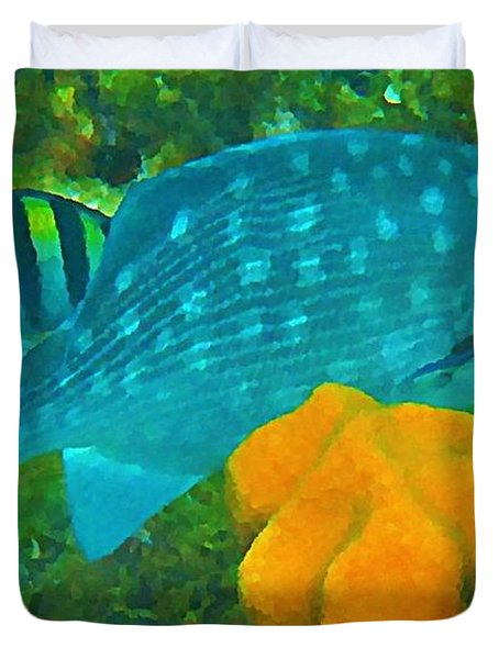 Spotted Surgeon Fish Duvet Cover by John Malone