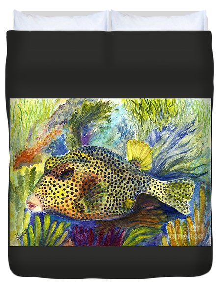 Spotted Trunkfish Duvet Cover by Carol Wisniewski