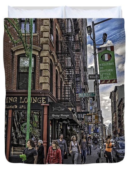 Spring and Mulberry - Street Scene - NYC Duvet Cover by Madeline Ellis