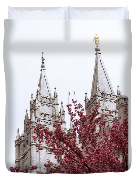 Spring At The Temple Duvet Cover by Chad Dutson